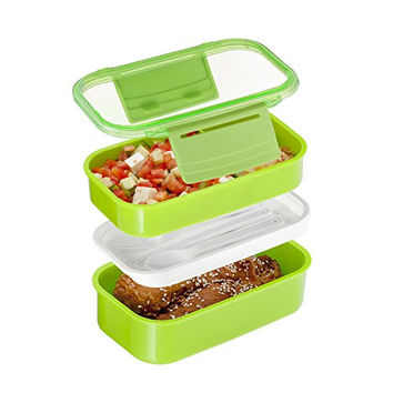 3 Compartment Food Container, Designed with Style Stackable Lunch Container, Bento Lunch Box Container Is Microwave and Dishwasher Safe, 3 Different Size Compartments, Lunch Tray with Lid, Divided Plate, Includes Two Containers & Matching Silverware