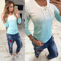 2016 Summer Beach Holiday Everyday Wear Short Sleeve Strappy Gradient Color T-Shirt _ 8953