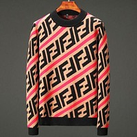 FENDI New Fashion Autumn And Winter Cashmere Sweater Men's Casual Fashion Warm Round Neck Sweater Top