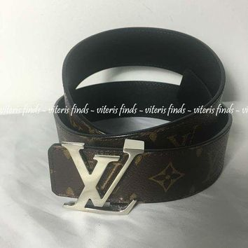 DCCKWV6 Auth NEW Louis Vuitton LV Silver Initials 40mm Reversible Monogram Black Belt