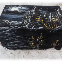 Box Harry Potter Hogwarts Hand Painted Wooden Jewelry box Keepsake Box storage Wizard World Magic Art Rowling Bithday gift CUSTOM ORDER
