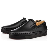 Christian Louboutin Pik Boat Flat Men's Women's Flat Black Leather 3130444B049