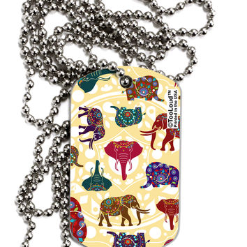 Indian Elephants AOP Adult Dog Tag Chain Necklace