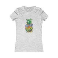 Pineapple Spash Watercolor Vintage Tee Shirt Womens summer T
