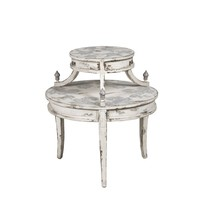 Round Tiered Side Table Distressed White