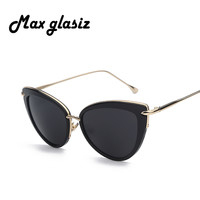 Brand new 2015 Mirror Lens Cateye Glasses Fashion Women Sunglasses Vintage Retro For Female Eyewear lentes lunette de soleil