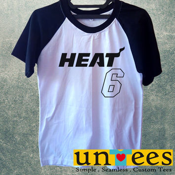 Lebron James 6 Miami Heat Jersey Short Raglan Sleeves T-shirt
