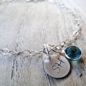Personalized Bracelet Hand Stamped Sterling Silver Disc with Swarovski Crystal Birthstone Drop -  .925 Sterling Silver Chain Bridesmaid Gift