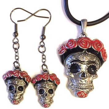 Skull Day of Dead with Red Roses Headband Color Costume Dangle Earrings and Pendant Necklace