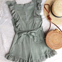 just the cutest ruffled eyelet romper - olive