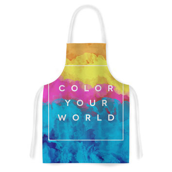 "Galaxy Eyes ""Color Your World"" Rainbow Paint Artistic Apron"
