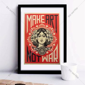 Make Art Not War Shepard Fairey Canvas Art Print Painting Poster Wall Pictures For Room Decoration Home Decor No Frame