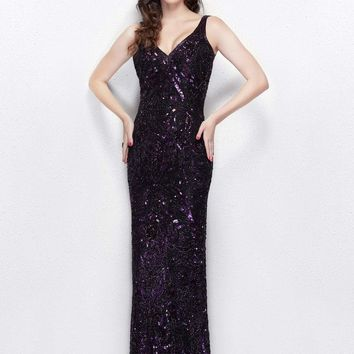 Primavera Couture - 3036 Sparkling V-Neck Embellished Evening Gown
