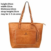 Quality PU Leather Tassel Vintage Shoulder Bag -4 Color Options-