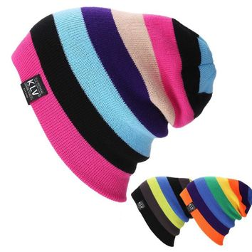 Unisex Mens Ladies Knitted stripe Autumn Winter Oversized Slouch Beanie Hat Cap 2017 summer fashion