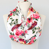 Floral print scarf bird print scarf tropical print scarf boho chic scarf infinity scarf summer scarves loop scarf  spring scarf / pheasant /