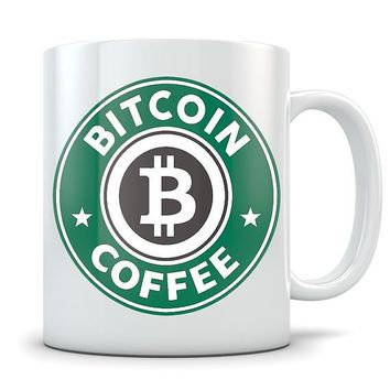 Bitcoin Mug - Cryptocurrency Coffee Cup - Great Gift for Bitcoin Owners - Funny Starbucks Parody