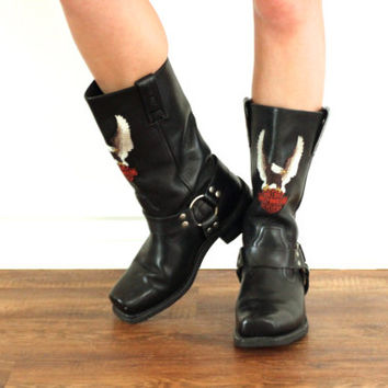 Vintage HARLEY DAVIDSON Embroidered Moto Harness Motorcycle Black Leather Boots // Biker Hipster Grunge Boho // Women's US 7.5 / 8