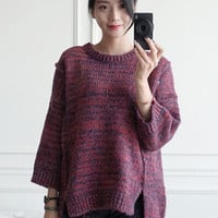Wine Red 3/4 Sleeve Loose Sweater