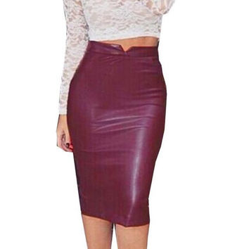 2016 Sexy Women Soft PU Leather Skirt High Waist Slim Hip Pencil Skirts Vintage Bodycon OL Midi Skirt Sexy Clubwear GV450
