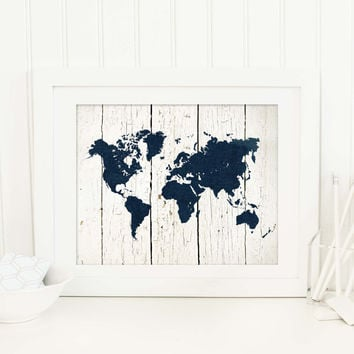 Rustic Map Print, Navy and White Nursery Decor, World Map Print, Nautical Decor, Travel Themed Print, Rustic Wedding Decor, P-