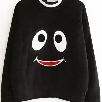 Black Smiley Patched Mohair Sweatshirt