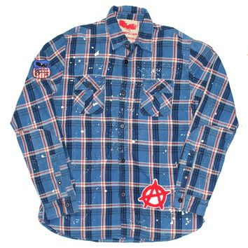Distressed Vintage Washed Plaid Flannel Shirt - by American Anarchy Brand