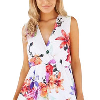 V-Neck Floral Printed Playsuits