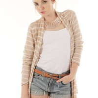 LIGTH-BROWN STRIPED COLOR LONG SLEEVE OPEN FRONT CARDIGAN @ KiwiLook fashion