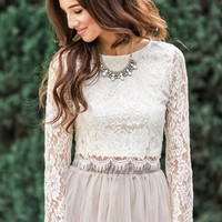 Ashlyn Cream Longsleeve Lace Top