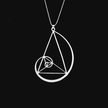 golden triangle necklace jewellery charms- Fibonacci-golden ratio With 50cm chain necklaces & pendants jewelry accessories