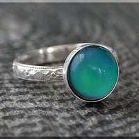 Mood Ring, Sterling Silver Stacking Ring, Deco Floral Textured Ring, Stackable Color Changing Ring, Mood Jewelry, Psychedelic Mood Ring