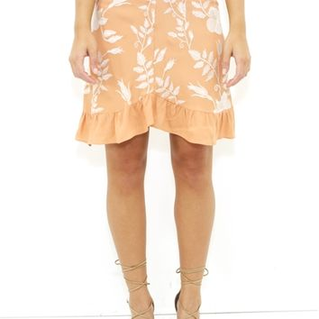 For Love & Lemons Mia Mini Skirt in Peach | Boutique To You