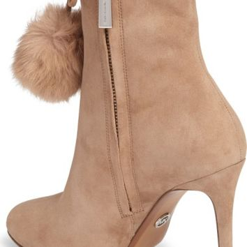 MICHAEL Michael Kors Remi Bootie with Genuine Rabbit Fur Pom (Women) | Nordstrom