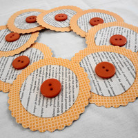 Scalloped Circles Die Cut with Dictionary Paper by ScrappyDoodads