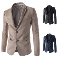 Suede Leather Slim Fit Men's Fashion Blazer Jacket