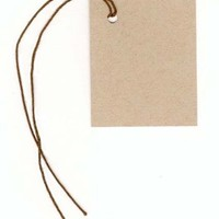 "100 Blank KRAFT Hang Tags (1-3/4""x2-1/8"") & 100 BROWN Cut Strings for Crafts & Gifts. Personalize & Price your merchandise"