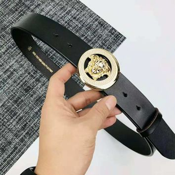 Versace Fashion New Diamond Buckle Men Women Personality Belt Black