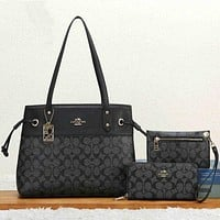 Coach Women Fashion Leather Satchel Tote Shoulder Bag Handbag Wallet Three Piece Set