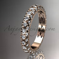 14kt rose gold diamond wedding ring, engagement ring, wedding band, eternity ring ADLR123