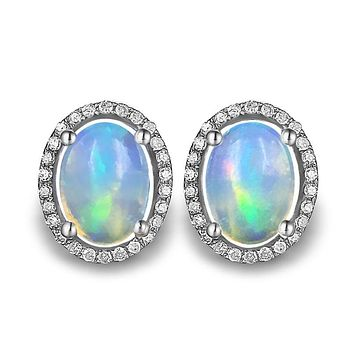 ZHHIRY Natural Fire Opal Earrings Genuine Gem Stone Solid 925 Sterling Silver Real Earrings For Women Fine Jewelry