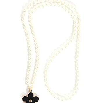 Long Faux Pearls Strand Necklace Black Retro Statement Flower NO37 Fashion Jewelry