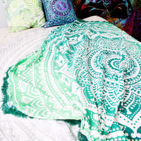 Hippie Trippy Turquoise Green Blue Ombre Mandala Tapestry