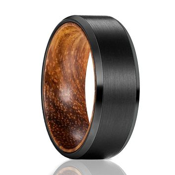 GOBLIN Tungsten Zebra Wood Ring--Men's Wedding Band