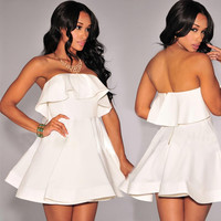 White Strapless Flounced Skater Dress