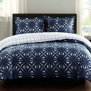 King Navy Lattice Geometric Reversible Comforter Set