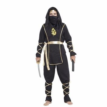 Adult  Black  Ninja  Costumes  Halloween  Party  Clothi
