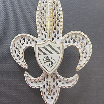 Vintage French Brooch Fleur Di Lis with Shield
