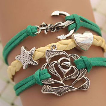 anchor bracelet,retro silver anchor and rose bracelet,yellow braid leather bracelet,green rope---B299