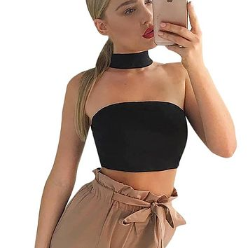 Fashion Halter Bustier Crop Tops Women Elegant Off Shoulder Tube Tops Sexy Party Club Short Camis Tank Tops